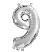 De-Ultimate Solid Silver Color Single Number Nine (9) 3d Foil Balloon for Birthday Celebration Anniversary Parties