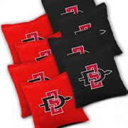 SAN DIEGO STATE AZTECS Cornhole Bags SET of 8 Officially Licensed ACA REGULATION Baggo Bean Bags ~ Made in the USA