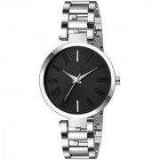 New Black Dile Silver Metal Strep Best Designing Stylist Looking Brand Analog Professional Watch For Women Girls