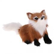 Phenovo Adorable Animated Fox Stuffed Animal Pet Plush Figurine Model Soft Toy Kids Gift Home Decor