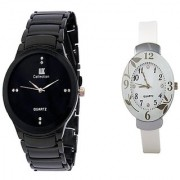 IIK Collction Black Men and Glory Flawer White Watches for Men and Women