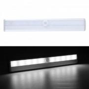 P-TOP 6000-6500K blanco frio 10-LED detector de movimiento infrarrojo infrarrojo sensor inalambrico armario gabinete lampara de luz-plata