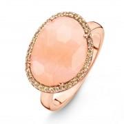 One More 18 Karaats Ros?gouden Stromboli Ring met Roze Aventurijn en Bruine Diamant