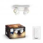 Philips HUE White Ambiance 50474/31 / P6 BUCKRAM spot 4xGU10 5.5W / 1000lm 2200-6500K + SWITCH bílá Bluetooth