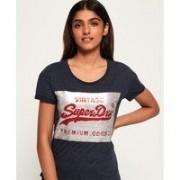Superdry Premium smal t-tröja i pojkvänsmodell med paljetter