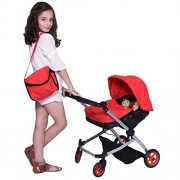 Modern Twin Doll Deluxe Babyboo Stroller Superior Quality Red Quilted Fabric New Luxury Collection Adjustable Height Free Diaper Bag Extra Tall