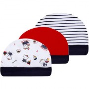 WONDERCHILD Red & Blue Printed Cap for New Born Baby |3-piece Cap set for Small Babies