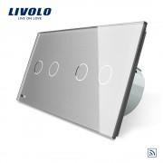 Intrerupator dublu + dublu cu touch Wireless Livolo din sticla, gri