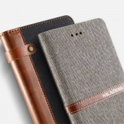 KLD - Kalaideng Funware collectie zwarte portemonee hoes, natuurlijke linnen en PU leer voor de iPhone 7 plus