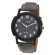 Evelyn Round Dial Grey Fabric Strap Quartz Watch For Men