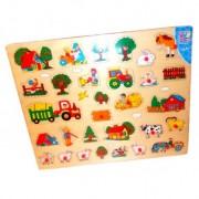 Puzzle Maxi Ferma 30 piese detasabile plansa lemn, Happy People