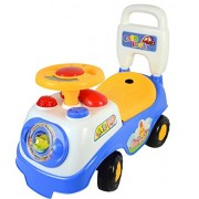 LIVIVO My First Ride on and Push Along Buggy Car Colourful Steps Toddler Walker Learning Toy with Sounds Accessories (Blue)