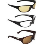 Zyaden Round Sunglasses(Yellow, Clear, Brown)