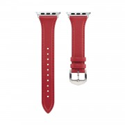 Genuine Leather Smart Watch Band Strap Replacement for Apple Watch Series 5/4 44mm / Series 3/2/1 42mm - Red