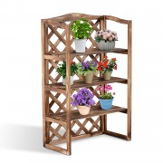 Outsunny 3-Tier Wooden Flower Stand Plant Holder Shelf Display Rack Outdoor