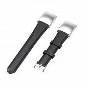 Oil Wax Genuine Leather Smart Watch Band Watchband Strap Replacement with Buckle for Huawei Honor 5 / Honor 4 ENC CRS-B19 CRS-B19S - Black