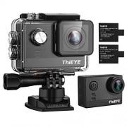ThiEYE T5e Cámara deportiva WiFi Ultra 4K HD16MP Sony Sensor/Ambarella Chipset Action Video Cam compatible con micrófono externo, 197 pies resistente al agua, 170 gran angular, control de aplicaciones, baterías recargables duales