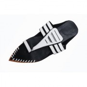PM TRADERS Latest New style Sharp Nozzel Rajasthani Slipper With Black And White Color Mix