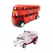 Combo Toys of Double Decker Bus (Mini, Small Size) and Police Car Toy for Kids | Pull Back and Go | Openable Doors | Red and White Color | Set of 2 Toys