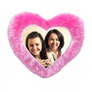 Beautiful Pink Heart Fur Pillow With Personalized Photo