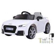 Jamara 460278 460277 – Ride-On Audi Tt Rs 12V Soft Start, 2-Speed, Ultra-Grip Rubber Belt, AUX and USB Port, Led, 2 Powerful Motors Batter for Driving Time of Op to 90 Min, White