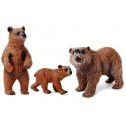 Miniature Grizzly Bear Toy Figurines, Set of 3 Bear Figures, North American Wildlife Grizzlies Male, Female and Cub (Set)