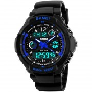 Louiwill Reloj De Pulsera De Dial LED De Deporte Militar Multifuncional (Azul)