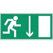Noodevacuatiebord - ''''Nooduitgang beneden rechts'''' - hard