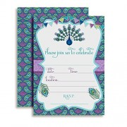 Peacock Themed Birthday Party Fill In Style Invitations, set of 10 including envelopes by Amanda Creation