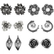 GoldNera Set of 6 Silver Antique Designer Stud Earrings For Daily/College Wear Girls (STYLE 2)