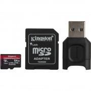 Kingston Canvas React Plus Card MicroSD 64GB UHS-II + Adaptor + Cititor de Carduri MobileLite Plus