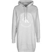 Calvin Klein Logo-Sweatshirtkleid mit Kapuze Damen Kleid grau meliert Gr. XS