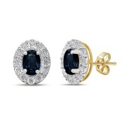 9ct Yellow Gold Diamond Set Sapphire Earrings (Diamond, Sapphire)