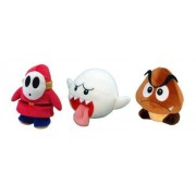 Sanei Set Of 3 Super Mario Plush Doll Shy Guy, Ghost Boo & Goomba