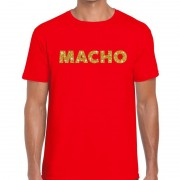 Bellatio Decorations Macho goud glitter tekst t-shirt rood heren