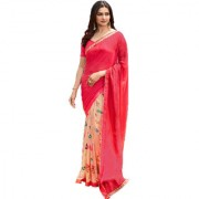 Indian Style Sarees New Arrivals Women's Pink Color Georgette Printed Half And Half Saree With Blouse Bollywood Latest D