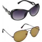 Hrinkar Over-sized Sunglasses(Grey, Brown)