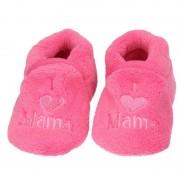 Babyslofjes Kraamcadeau fuchsia roze babyslofjes/pantoffels love mama