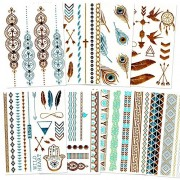 Flash Metallic Temporary Tattoos Over 80 Flash Tattoos (8 Sheets Of Gold And Silver Foil Metallic Tattoo Jewelry)