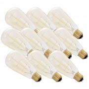 [in.tec] 10 x Diseño Retro Lámpara Edison, bombilla de filamento diseño tradicional - E27 / 230 V / 40 W / 150lm - blanco cálido (2700K) - Regulable