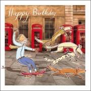 verjaardagskaart woodmansterne - happy birthday - skateboard en honden