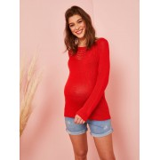 VERTBAUDET Camisola em malha ajurada, para grávida vermelho vivo liso