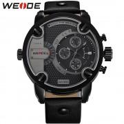 WEIDE Sport Watches Men Luxury Black Leather Strap Quartz Dual Time Zone Analog Date Men Military Male Clock Oversize Wristwatch