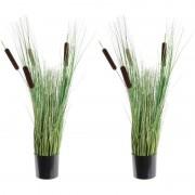 Shoppartners 2x Groene riet/grasplanten kunstplanten 80 cm met zwarte pot - Kunstplanten