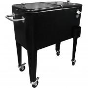Cooler Retro Metálico Negro Con Manilla Y Ruedas 60 Litros