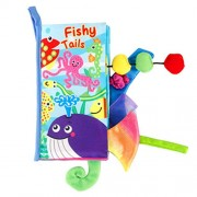 Innersetting Kids 3D Animal Tails Cloth Book Baby Puzzle Toy Educational Books (Fish)