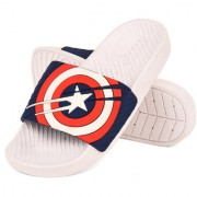 Drunken Men'S Captain America Duramo Slide White Navy Slip-On Sandal