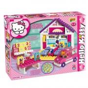 Set constructie cuburi, Scoala Hello Kitty, 89 piese, 3 figurine, masinuta si stickere personalizate