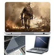 FineArts Laptop Skin Soldier on Ground With Screen Guard and Key Protector - Size 15.6 inch