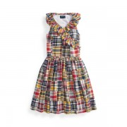 GIRLS 7-14 YEARS Cotton Madras Wrap Dress - Patchwork Spring - Size: 10 YRS